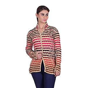 eWools Women's Winter wear Round Neck Multicolor Woolen Cardigan