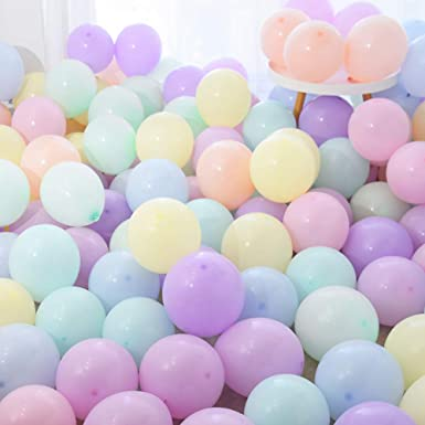 PuTwo Pastel Balloons 100 Pcs 10 Inch Coloured Party Decorations Birthday