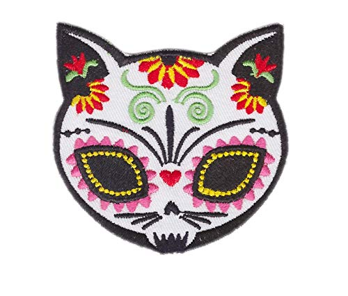 Sugar Skull Cat with flower Embroidered Cloth Iron On Patch choppershop