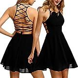 #6: HANYI Mini Dress Sexy Ladies Women Party Evening Cocktail Chiffon Backless Bandage Sleeveless Mini Dress