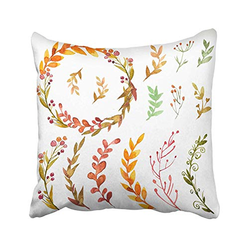 FJPT Throw Pillow Cover Green Branch of Autumn Flowers Herbs and Leaves in Watercolor on White Sketch and Wreath Garland Circle Cotton Pillowslip for Sofa Bed Stand Size Pillowcase 22x22 Inch