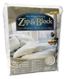 Zip and Block  Soft Block Anti Allergen Bed Bug Proof Breathable Waterproof Mattress Encasing, White, King