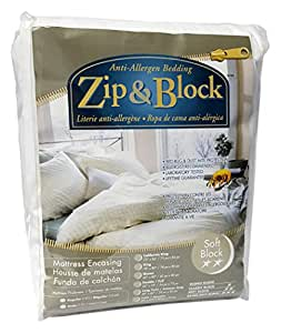 Zip and Block  Soft Block Anti Allergen Bed Bug Proof Breathable Waterproof Mattress Encasing, White, King