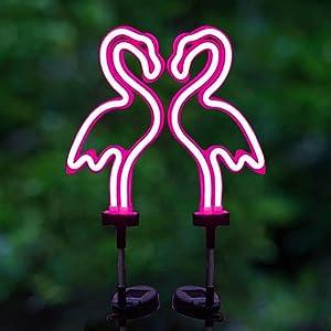 Solar Garden Stake Lights, Outdoor Solar Pathway Light for Lawn Patio Yard Walkway, Neon Pink Lighting, 2 Pack