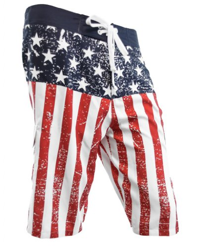 (Calhoun Men's USA Flag Distressed Boardshorts (Small))