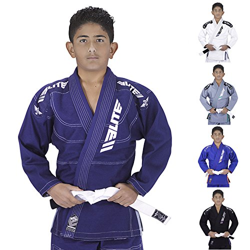 Elite Sports IBJJF Ultra Light BJJ Brazilian Jiu Jitsu Gi for Kids with Preshrunk Fabric and Free Belt, C0, Navy