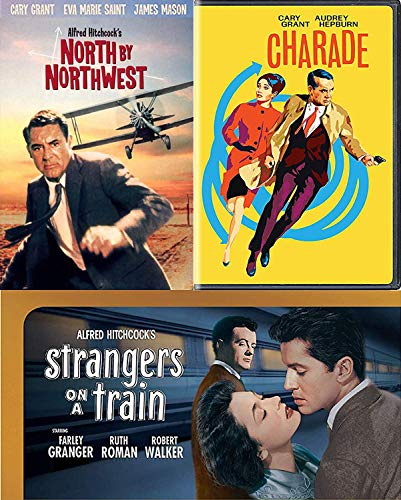 Strange fascinating Alfred Hitchcock Movie Cary Grant North By Northwest & TMC Strangers on A Train DVD + Charade Audrey Hepburn movie suspense Collection