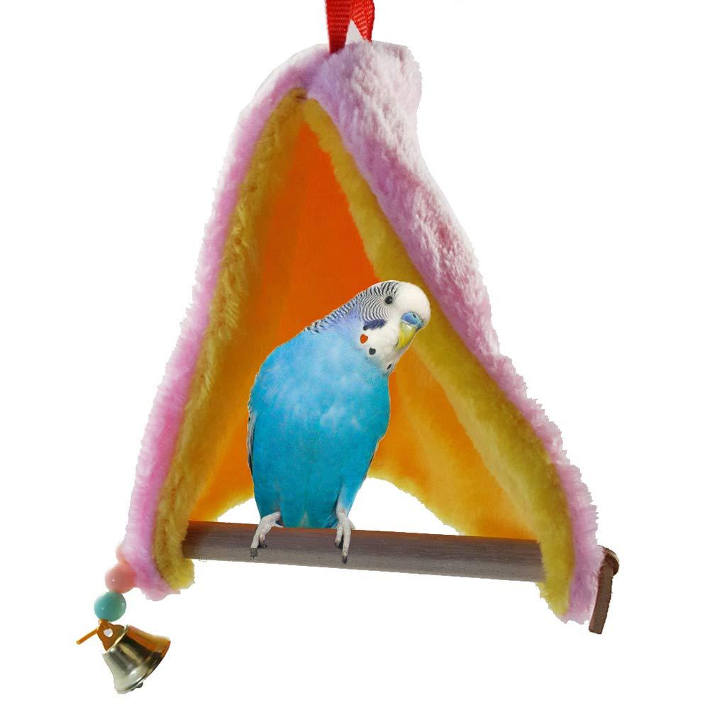 Shineweb Bird Nest House Hut Hammock Warm Plush Sleeping Hanging Parrot Budgie Parakeet Swing Nest Cage Bell