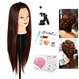 Mannequin Head, Beauty Star 29 Inch Long Synthetic Yaki Brown Hair Cosmetology Mannequin Manikin Training Head Model Hairdressing Styling Practice Training Doll Heads with Clamp and Accessories