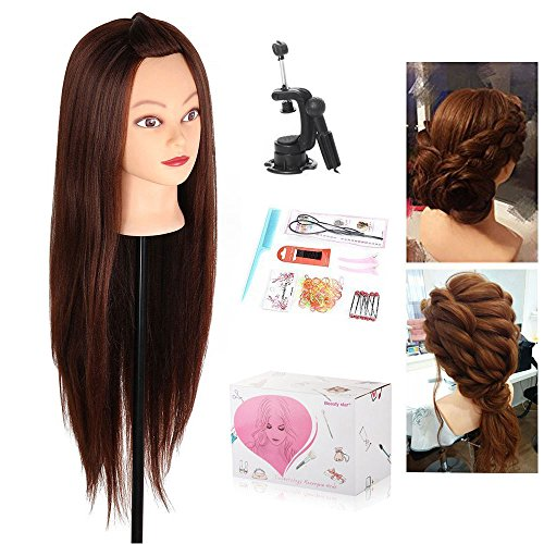Mannequin Head, Beauty Star 29 Inch Long Synthetic Yaki Brown Hair Cosmetology Mannequin Manikin Training Head Model Hairdressing Styling Practice Training Doll Heads with Clamp and Accessories (Beauty Head)