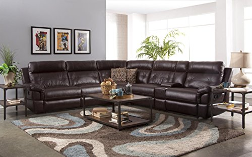 NCF Furniture Sutherland Motion Sectional with 2 Armless Recliners in Chocolate (Motion Armless Recliner)