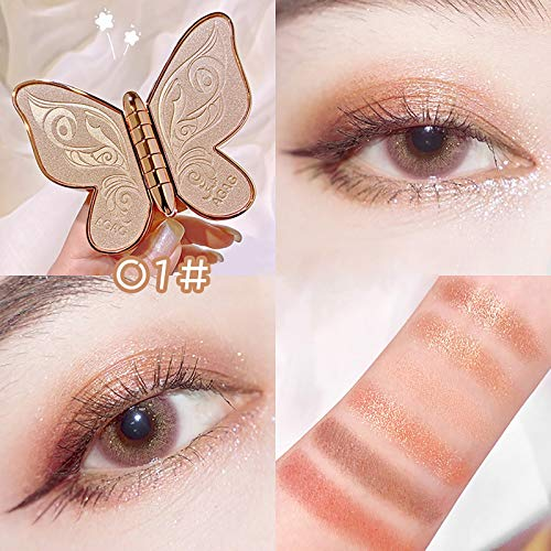 Butterfly Eyeshadow 6 Colors Pearl Glitter Glitter Matte Big Earth Color Makeup Eyeshadow Palette (D)