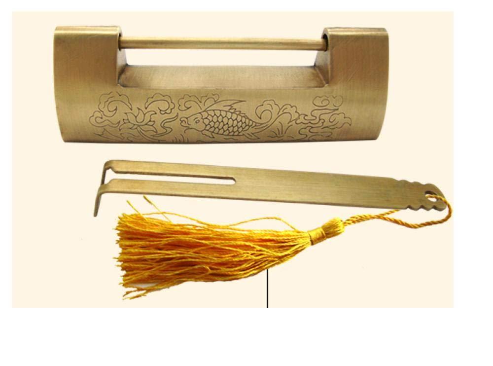 cadenas ouvert horizontal petite serrure /à lancienne serrure /à verrou horizontal en cuivre pur grav/é d/époque@Espacement 5.2 Serrure en laiton antique chinoise