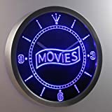 nc0399-b Movie Night Decor Neon Sign LED Wall Clock
