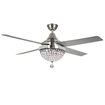 Tiptonlight Modern Crystal Chandelier Ceiling Fan Lamp Folding