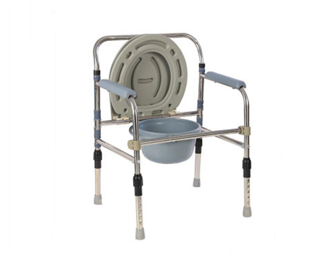 トイレの椅子、折りたたみ可能な厚いステンレススチールバスルーム老人トイレの椅子 B078RFHN2R