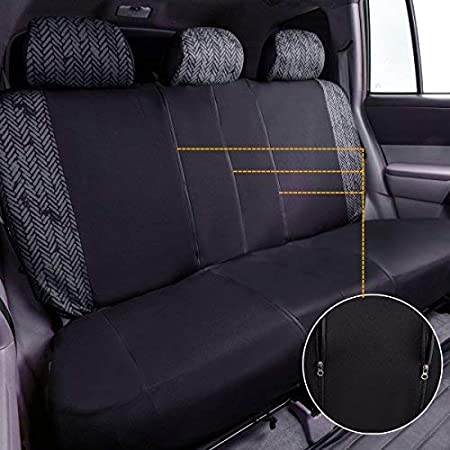 for suvs,sedans,Trucks,Cars Airbag Compatible Black with Gray CAR PASS Tire Series Universal Car Seat Cover with Reserved Opening Holes for headrest Covers and selt Belts