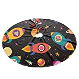 Cute Animals in Spaceships Christmas Tree Skirt Ornament 35.5 Diameter Christmas Decoration New Year Party Supply