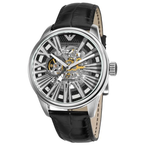 Emporio Armani Men's 'Meccanico' Automatic Stainless Steel and Leather Casual Watch, Color:Black (Model: AR4629)