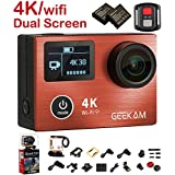 Sport Action Camera 4K 30fps 14MP Ultra HD Action Cam with Dual Screen Panasonic CMOS Wifi 2.4G Remote Control HDMI Waterproof 170 Wide Angle Bike Helmet Camera with 2 Batteries and accessories