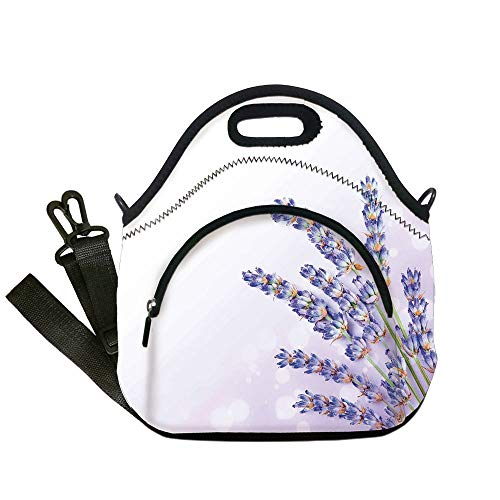 Organic Tote Spa (Insulated Lunch Bag,Neoprene Lunch Tote Bags,Lavender,Little Posy of Medicinal Herb Fresh Plant of Purple Flower Spa Aromatheraphy Organic,Lavander,for Adults and children)