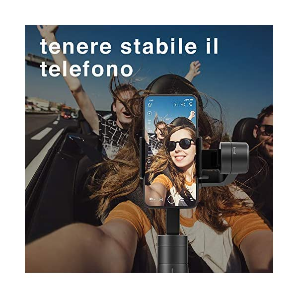 FeiyuTech Vimble 2S - Stabilizzatore cardanico portatile estensibile a 3 assi per smartphone,Iphone/Samsung/Xiao Mi/Huawei, nero scuro 4 spesavip