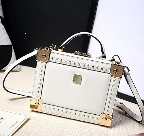 Rivet Style Messenger Bzuma Leather Ladies Genuine Box Totes White Women's Handbag Fashion Shape Shoulder Bag black Crossbody xw5qTAYq
