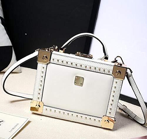 Crossbody Leather Bzuma White Women's Totes Fashion Messenger Shape Box Genuine Handbag Bag Ladies Style black Rivet Shoulder OUqwOA