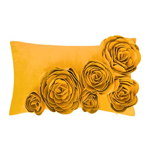 JWH 3D Handmade Accent Pillow Cases Rose Flowers Cushion Cov