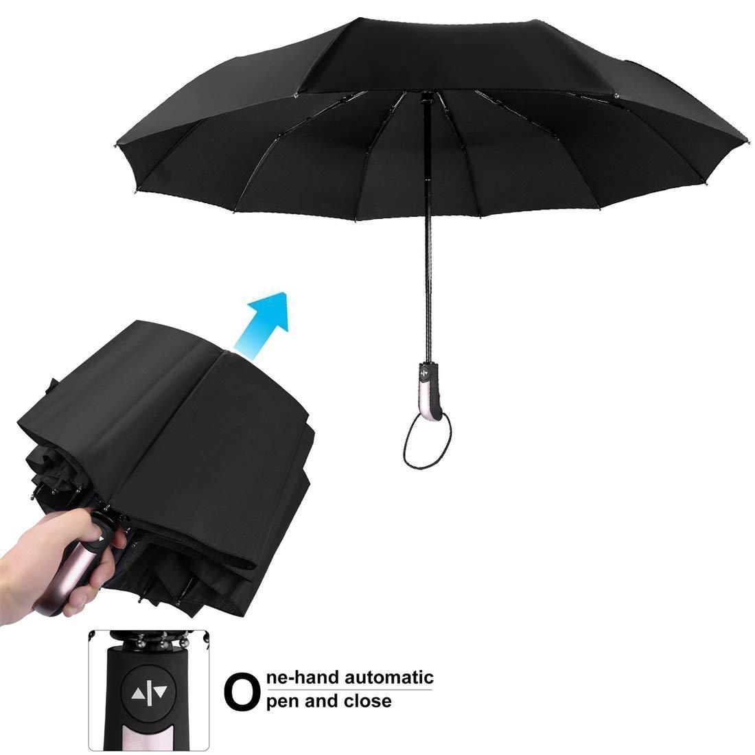 Parapluie Pliable Noir Automatique Ouverture et Fermeture R/ésistant /à Temp/ête Compact L/éger Parapluie de Voyage pour Homme et Femme,T/éflon 210t,Id/éal en Voyage Silaite Parapluie Pliant