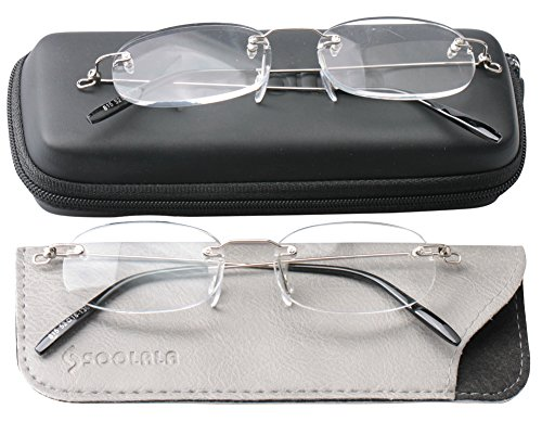 SOOLALA 2 Pairs Unisex Designer Lightweight Rimless Quality Readers Thin Reading Glasses, 1.0x