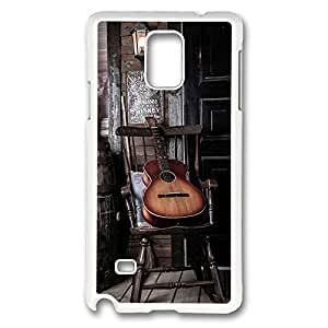 Galaxy Note 4 Case, Creativity Design Old Guitar On Chair Ideas Print Pattern Perfection Case [Anti-Slip Feature] [Perfect Slim Fit] Plastic Case Hard White Covers for Samsung Galaxy Note 4