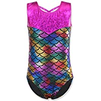 HUANQIUE Girls Kids Swimming Gymnastic Unitard Swimsuit Sleeveless One Piece Scale Colorful 6-8 Years