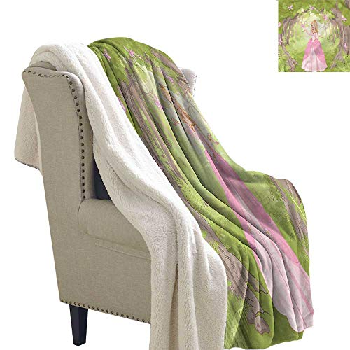 (AndyTours Lamb Velvet Blanket Princess Enchanted Forest Butterfly Gift Throw Blanket for Women Men W59 x L47)