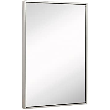 Amazoncom Clean Large Modern Brushed Nickel Frame Wall Mirror
