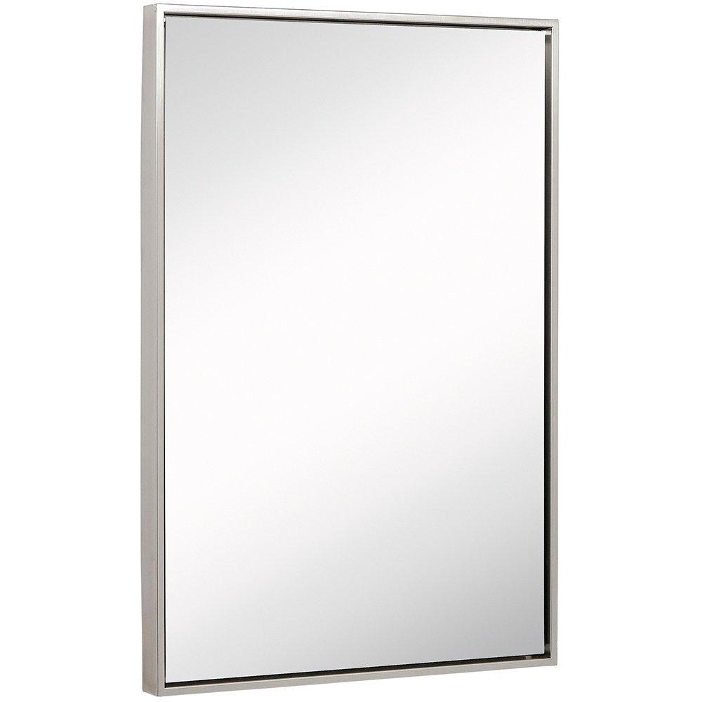 Clean Large Modern Brushed Nickel Frame Wall Mirror ...