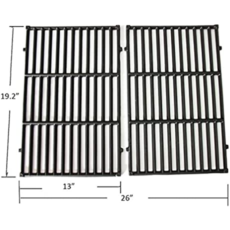 BBQ Funland GI7524 Gloss Porcelain Coated Cast Iron Cooking Grid For Weber Genesis E And S Series Gas Grills Set Of 2