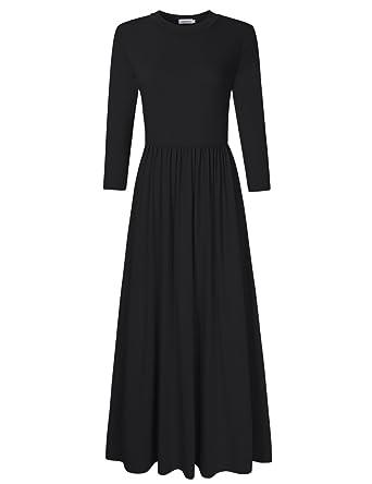 08bd23cd51 Zehui Women s 3 4 Sleeve Maxi Dress Long Babydoll Casual with Pockets