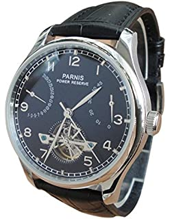 Parnis Mens Automatic Watch Flywheel Energy Display Seagull St2505 Movement