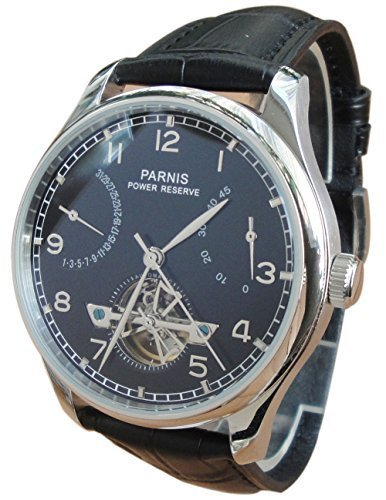 Parnis Men's Automatic Watch Flywheel Energy Display Seagull St2505 Movement