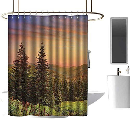 Wixuewu Forest,Shower Curtains Texas,Heaven Like View with Fir Trees Pines Spruce on Sidehills at Dawn Outdoors,Shower Curtain for Girls Bathroom,W48 x L72,Green Coral Lilac