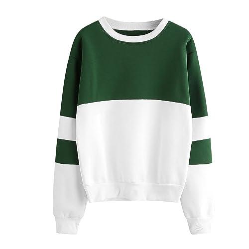 Sudadera con capucha Para Mujer, Kukul Otoño Sudadera labor de retazos - Patchwork Sweatshirt (L, Ve...