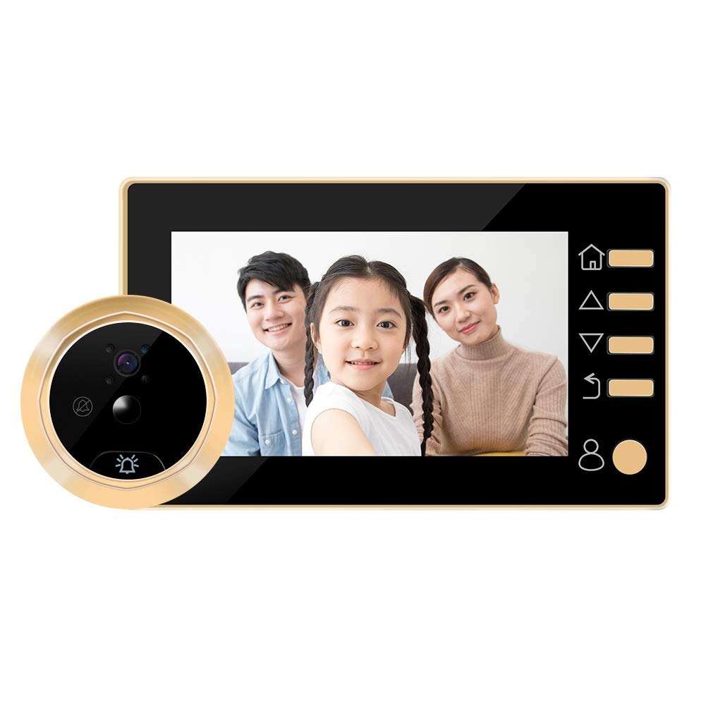Peephole Doorbell, W10 4.3 Inch Zinc Alloy Material Security Peephole Photo Recording Viewer Digital Infrared Night Vision HD Large Screen Camera Doorbell, Home Supplies(Gold)