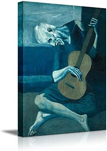 Canvas Wall Art Famous Fine Art Reproduction Wall26 The Old Guitarist by Pablo Picasso 12 x 18 World Famous Painting Replica on Wrapped Canvas Print Modern Home Decor Wood Framed /& Ready to Hang