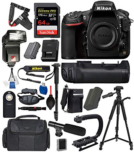 Nikon D810 Digital SLR Full Frame Camera Body Only USA (Black) 19PC Professional Bundle Package Deal –Professional Battery Grip + SanDisk Extreme pro 64gb SD Card + More