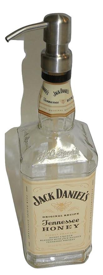 Jack Daniels Honey Whisky Licor botella Repurposed jabón o loción dispensador de 750 ml
