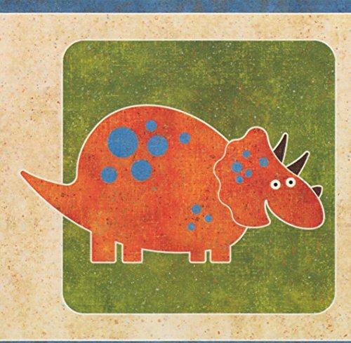 (Dinosaurs for Kids Blue Green Orange Wallpaper Border Retro Design, Roll 15' x 9