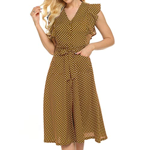 OMSJ Womens Summer Cute Dresses Polka Dot Vintage Party Dress with Pockets (Brown, L)