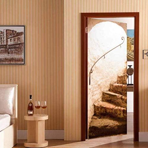 Zhoudd Pegatinas De Puerta 3D Escaleras Retro 77X200Cm Etiqueta De La Puerta Papel Tapiz Murales Murales Pegatinas Carteles Pegatinas De Pared Decoraciones Papel Pintado Arte: Amazon.es: Bricolaje y herramientas