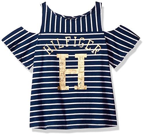 Tommy Hilfiger Big Girls' Tee, Flag Blue/Stripes, X-Large (Hilfiger Tee Tommy Girls)